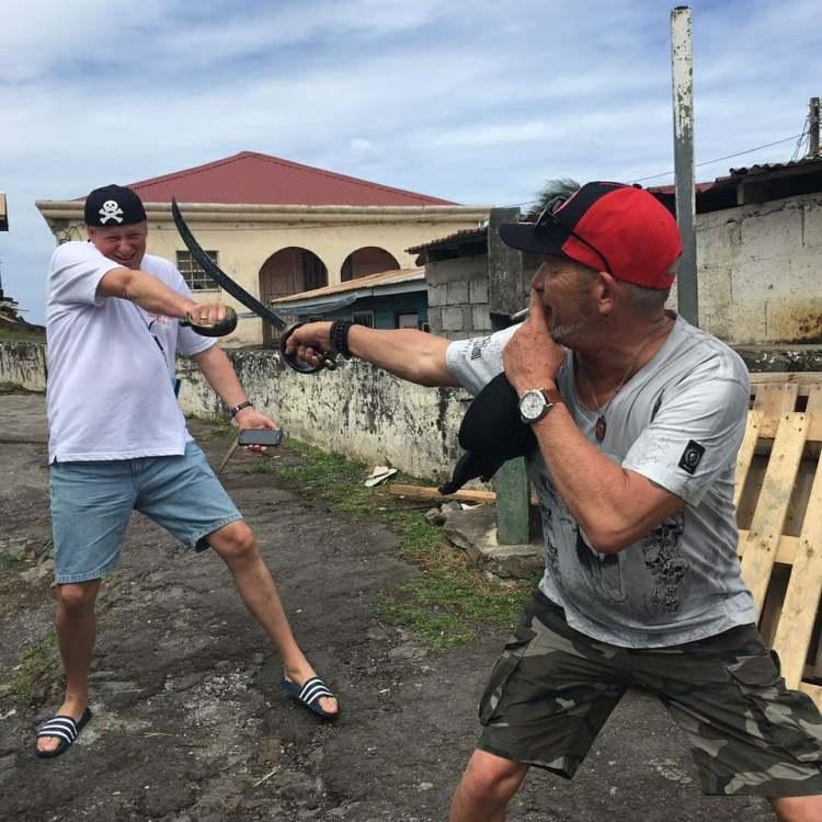 Tourists playing
