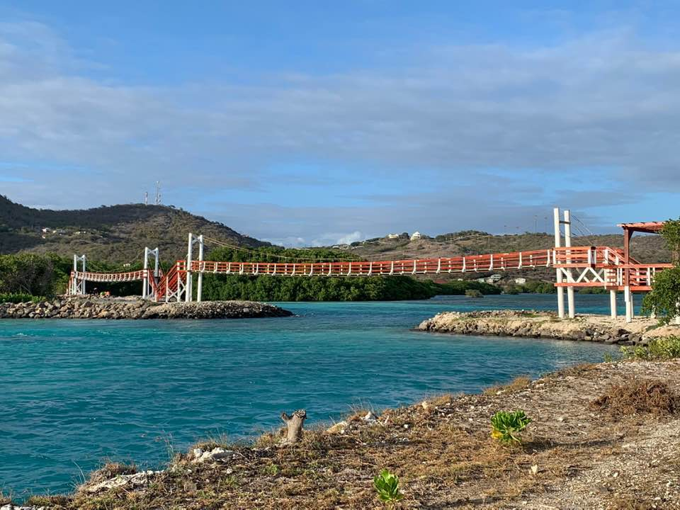 A newly constructed suspension bridge over the sea at Frigate Bay, Union Island in a Mangrove Swamp area. Photo: Alphonso Dennie